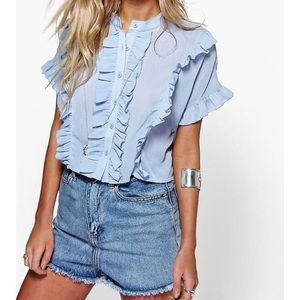 Free people baby blue summer top